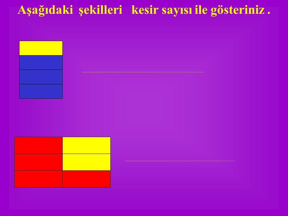 Aşağıdaki şekilleri kesir sayısı ile gösteriniz.