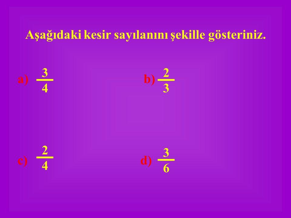 Aşağıdaki kesir sayılanını şekille gösteriniz. a) b) c) d) 3636 3434 2323 2424
