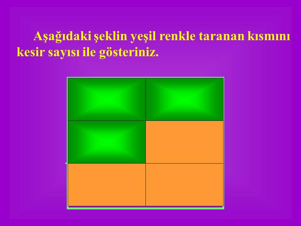 Aşağıdaki şeklin yeşil renkle taranan kısmını kesir sayısı ile gösteriniz.