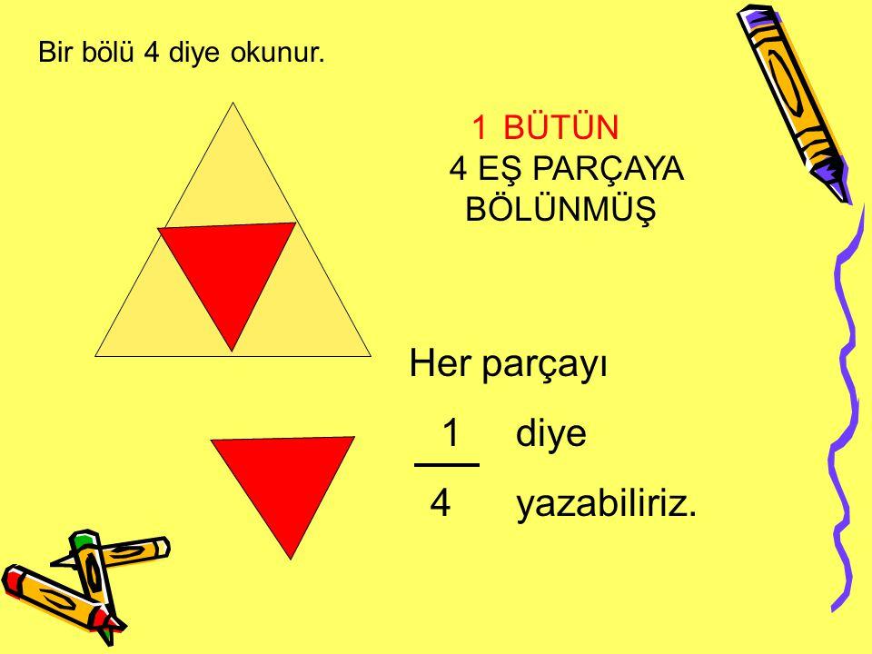 1 1BÜTÜN 4 EŞ PARÇAYA BÖLÜNMÜŞ Her parçayı 1 diye 4 yazabiliriz. Bir bölü 4 diye okunur.