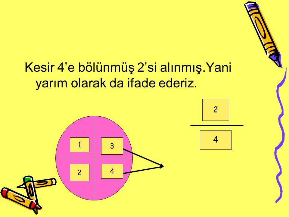 Kesir 4'e bölünmüş 2'si alınmış.Yani yarım olarak da ifade ederiz. 2 4 1 2 3 4