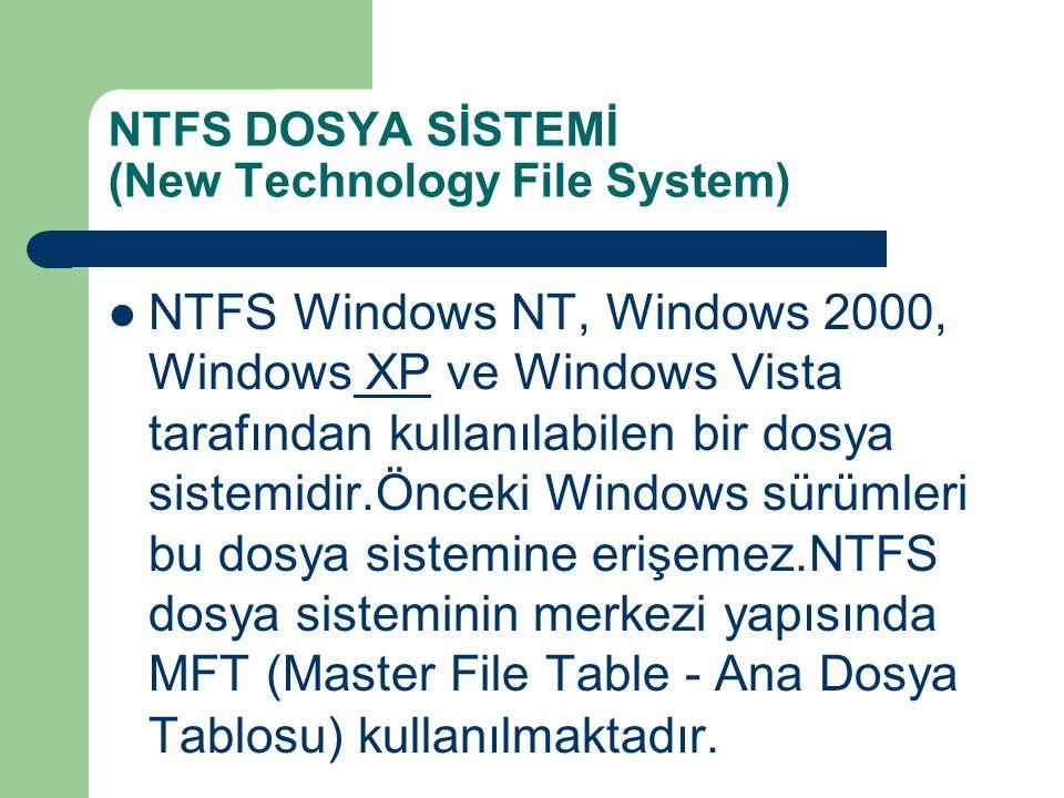 NTFS DOSYA SİSTEMİ (New Technology File System) NTFS Windows NT, Windows 2000, Windows XP ve Windows Vista tarafından kullanılabilen bir dosya sistemi