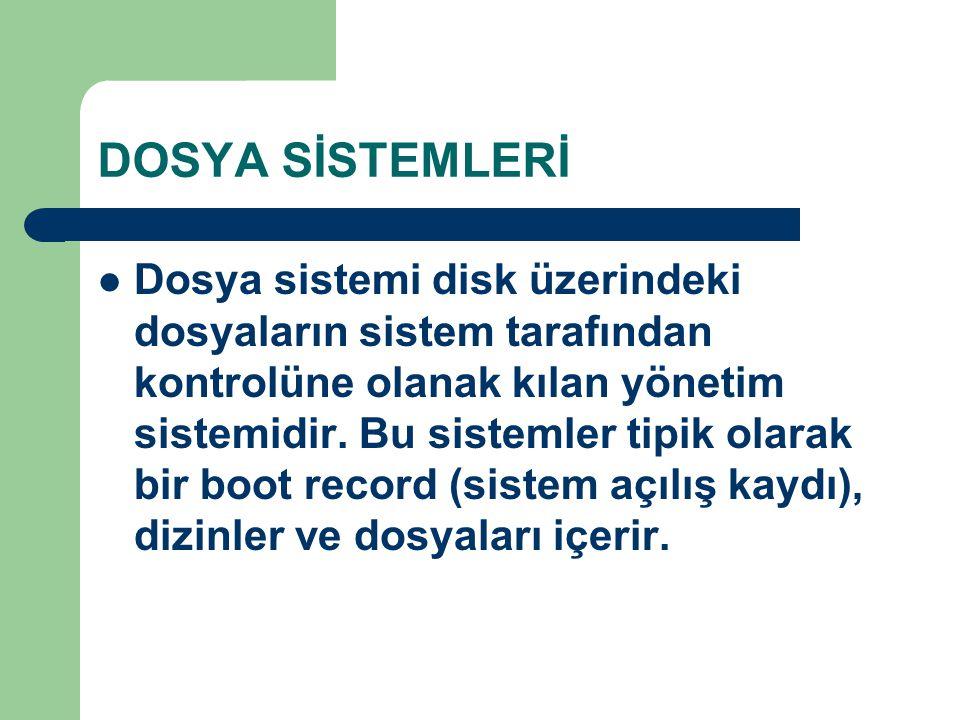 DOSYA SİSTEMLERİ Dosya sistemi disk üzerindeki dosyaların sistem tarafından kontrolüne olanak kılan yönetim sistemidir. Bu sistemler tipik olarak bir