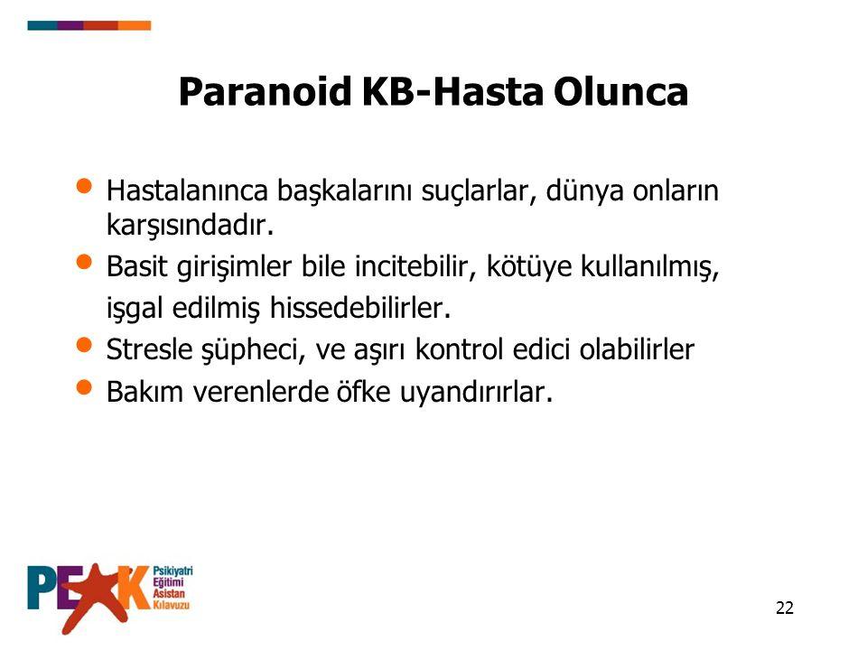 22 Paranoid KB-Hasta Olunca Hastalanınca başkalarını suçlarlar, dünya onların karşısındadır. Basit girişimler bile incitebilir, kötüye kullanılmış, iş