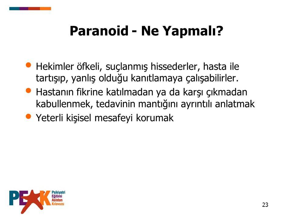 23 Paranoid - Ne Yapmalı? Hekimler öfkeli, suçlanmış hissederler, hasta ile tartışıp, yanlış olduğu kanıtlamaya çalışabilirler. Hastanın fikrine katıl