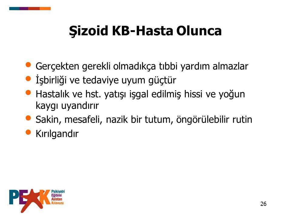 26 Şizoid KB-Hasta Olunca Gerçekten gerekli olmadıkça tıbbi yardım almazlar İşbirliği ve tedaviye uyum güçtür Hastalık ve hst. yatışı işgal edilmiş hi