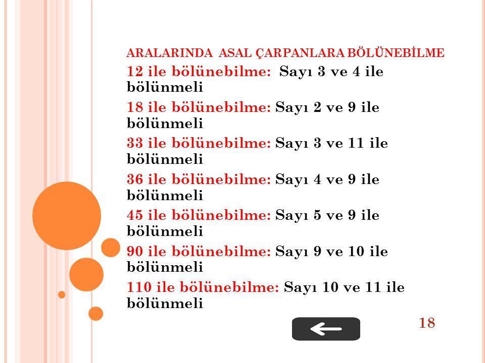ARALARINDA ASAL ÇARPANLARA BÖLÜNEBİLME 12 ile bölünebilme: Sayı 3 ve 4 ile bölünmeli 18 ile bölünebilme: Sayı 2 ve 9 ile bölünmeli 33 ile bölünebilme: