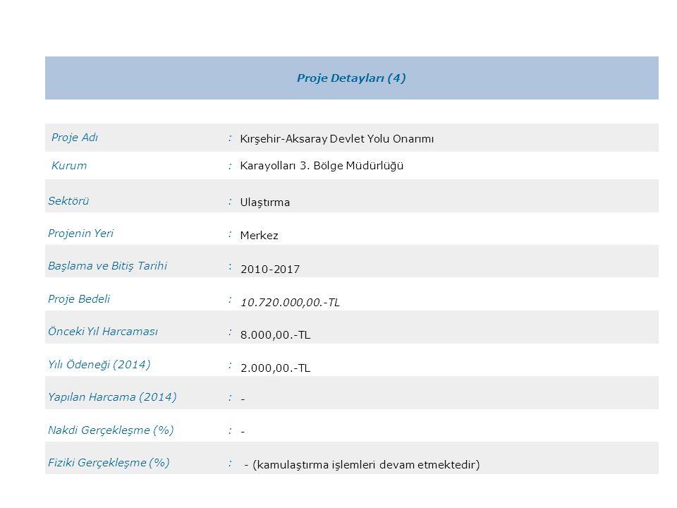 Proje Detayları (4) Proje Adı: Kırşehir-Aksaray Devlet Yolu Onarımı Kurum:Karayolları 3. Bölge Müdürlüğü Sektörü: Ulaştırma Projenin Yeri: Merkez Başl