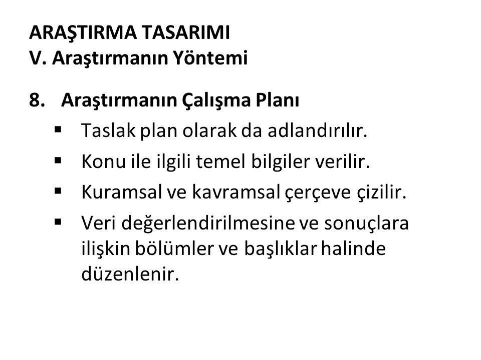 ARAŞTIRMA TASARIMI V.