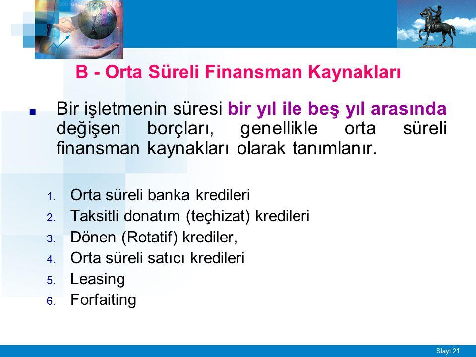 Slayt 21 B - Orta Süreli Finansman Kaynakları ■ Bir işletmenin süresi bir yıl ile beş yıl arasında değişen borçları, genellikle orta süreli finansman