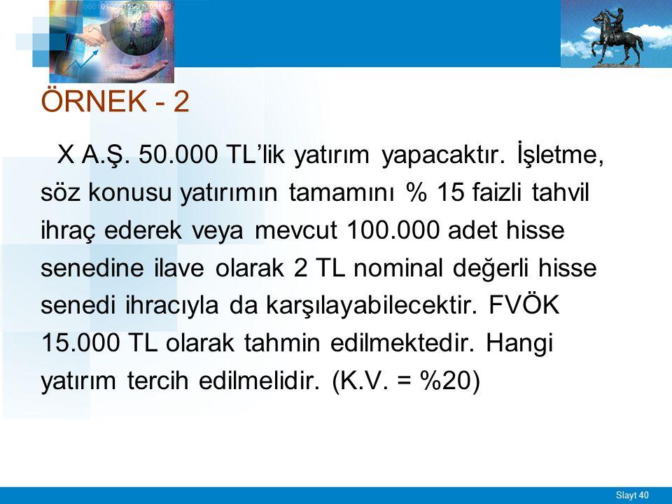 Slayt 40 ÖRNEK - 2 X A.Ş. 50.000 TL'lik yatırım yapacaktır. İşletme, söz konusu yatırımın tamamını % 15 faizli tahvil ihraç ederek veya mevcut 100.000