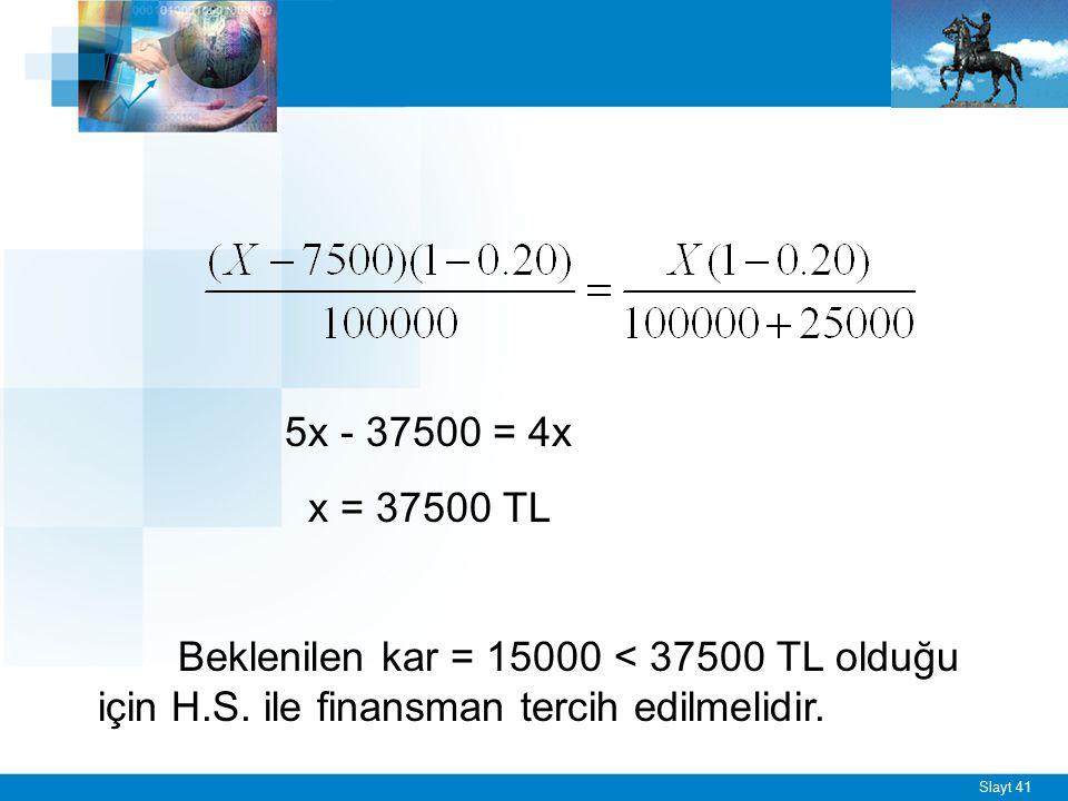 Slayt 41 5x - 37500 = 4x x = 37500 TL Beklenilen kar = 15000 < 37500 TL olduğu için H.S. ile finansman tercih edilmelidir.