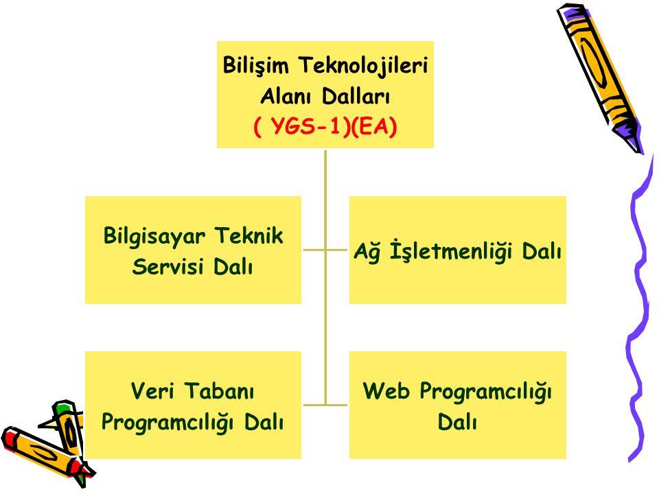 Bilişim Teknolojileri Alanı Dalları ( YGS-1)(EA) Bilgisayar Teknik Servisi Dalı Ağ İşletmenliği Dalı Veri Tabanı Programcılığı Dalı Web Programcılığı