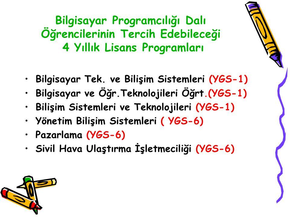 Bilgisayar Programcılığı Dalı Öğrencilerinin Tercih Edebileceği 4 Yıllık Lisans Programları Bilgisayar Tek. ve Bilişim Sistemleri (YGS-1) Bilgisayar v