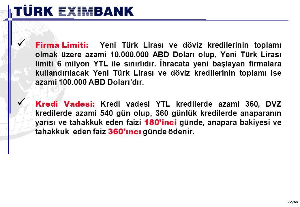 22 22/68 Firma Limiti: Yeni Türk Lirası ve döviz kredilerinin toplamı olmak üzere azami 10.000.000 ABD Doları olup, Yeni Türk Lirası limiti 6 milyon Y