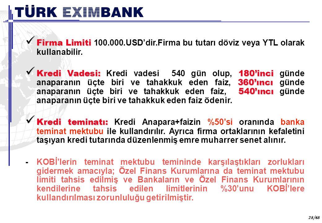 28 28/68 Firma Limiti Firma Limiti 100.000.USD'dir.Firma bu tutarı döviz veya YTL olarak kullanabilir. Kredi Vadesi: 180'inci 360'ıncı 540'ıncı Kredi