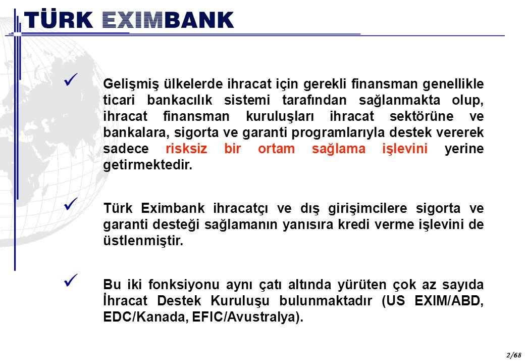 43 43/68 İHRACAT FİNANSMANI PROGRAMI İKB ile Türk Eximbank arasında 1988 yılında imzalanmış olan anlaşma uyarınca, İKB bünyesindeki finansman programlarından İhracat Finansmanı Programı na Türk Eximbank aracılık etmektedir.