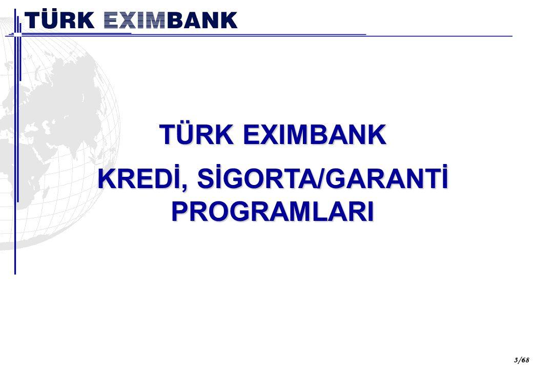 3 3/68 TÜRK EXIMBANK KREDİ, SİGORTA/GARANTİ PROGRAMLARI Türk Eximbank