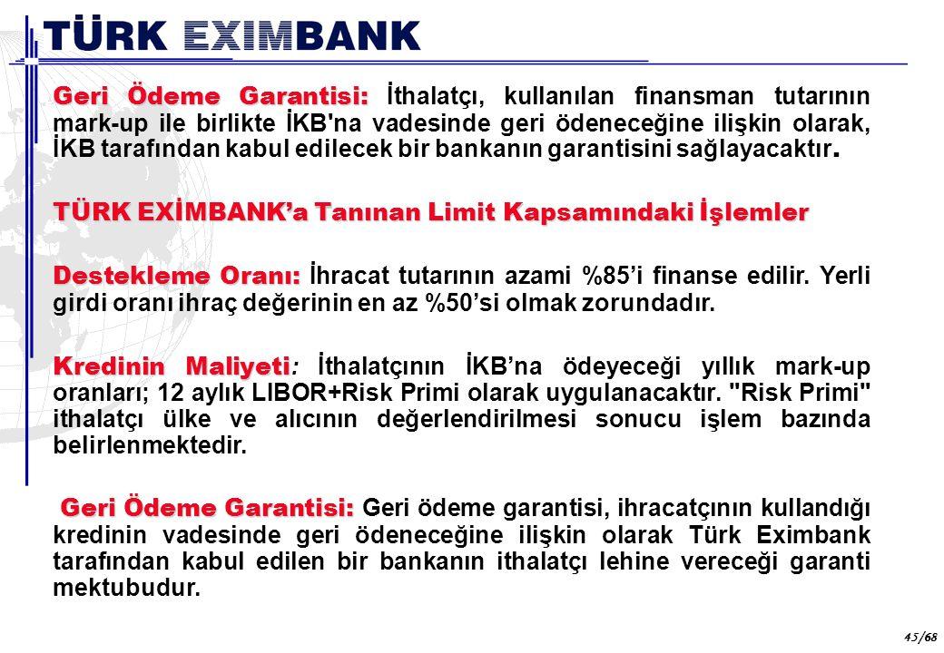 45 45/68 Geri Ödeme Garantisi: Geri Ödeme Garantisi: İthalatçı, kullanılan finansman tutarının mark-up ile birlikte İKB'na vadesinde geri ödeneceğine