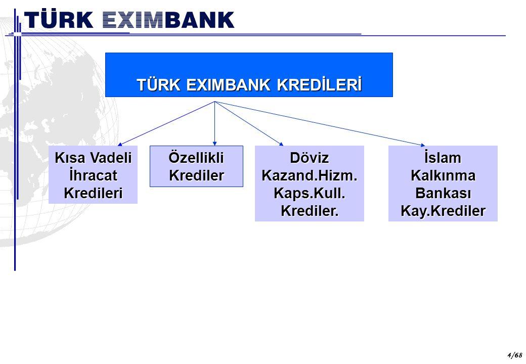 65 65/68 Türk Eximbank'ın Aralık 2005 itibariyle, aktif büyüklüğü 2,9 milyar dolar (3,5 milyar ytl) olarak gerçekleşmiştir.