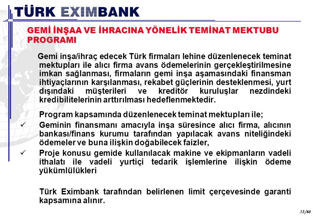 53 53/68 GEMİ İNŞAA VE İHRACINA YÖNELİK TEMİNAT MEKTUBU PROGRAMI Gemi inşa/ihraç edecek Türk firmaları lehine düzenlenecek teminat mektupları ile alıc