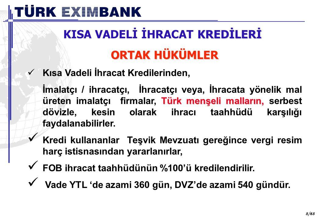 29 29/68 DÖVİZ KAZANDIRICI HİZMETLER ULUSLARARASI NAKLİYAT PAZARLAMA KREDİLERİ Bu kredi programından Türkiye'de yerleşik uluslararası nakliyat firmaları, kredi vadesi içerisinde yapacakları uluslararası kara, deniz, hava taşımacılık hizmetine mukabil gerçekleştirmeyi taahhüt ettikleri döviz gelirleri karşılığında faydalanabileceklerdir.