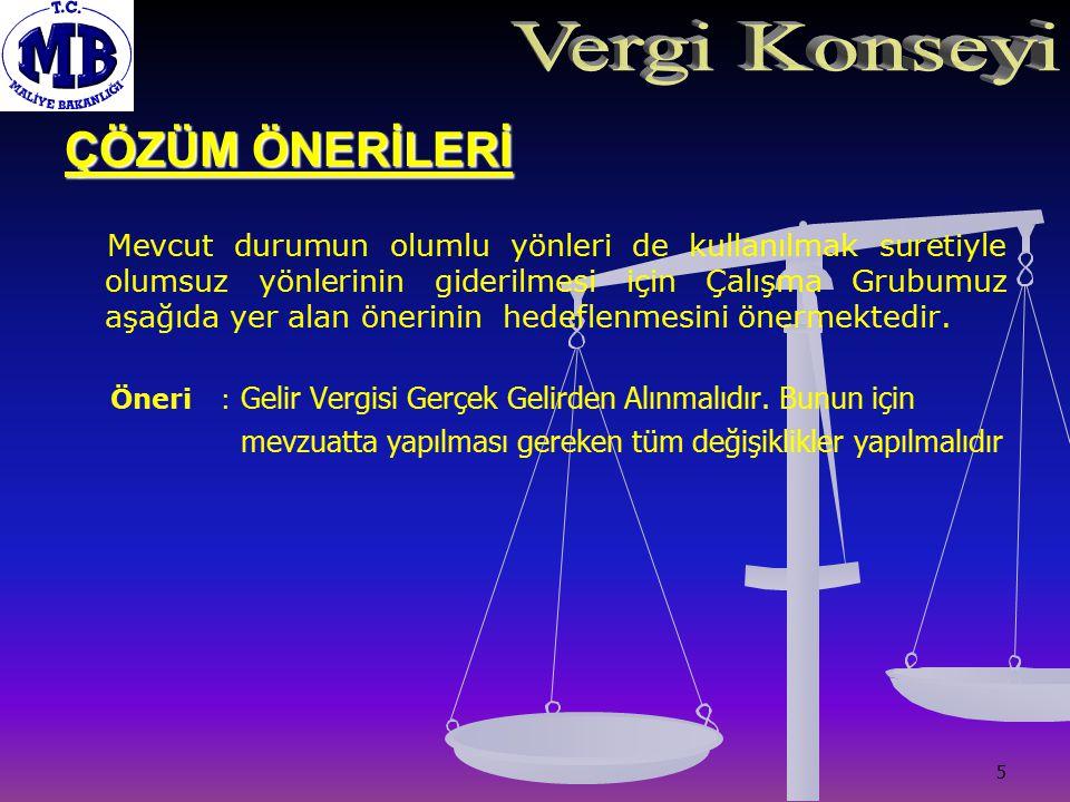 6 ÇÖZÜM ÖNERİLERİ PROJE : 213 Sayılı Vergi usul Kanunun Değerleme H ü k ü mleri Ger ç ek Gelirin Vergilendirilmesine D ö n ü k Olarak Değiştirilmelidir.