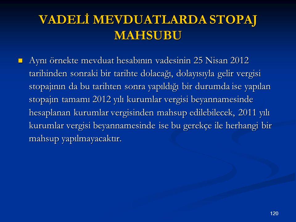 120 VADELİ MEVDUATLARDA STOPAJ MAHSUBU Aynı örnekte mevduat hesabının vadesinin 25 Nisan 2012 tarihinden sonraki bir tarihte dolacağı, dolayısıyla gel