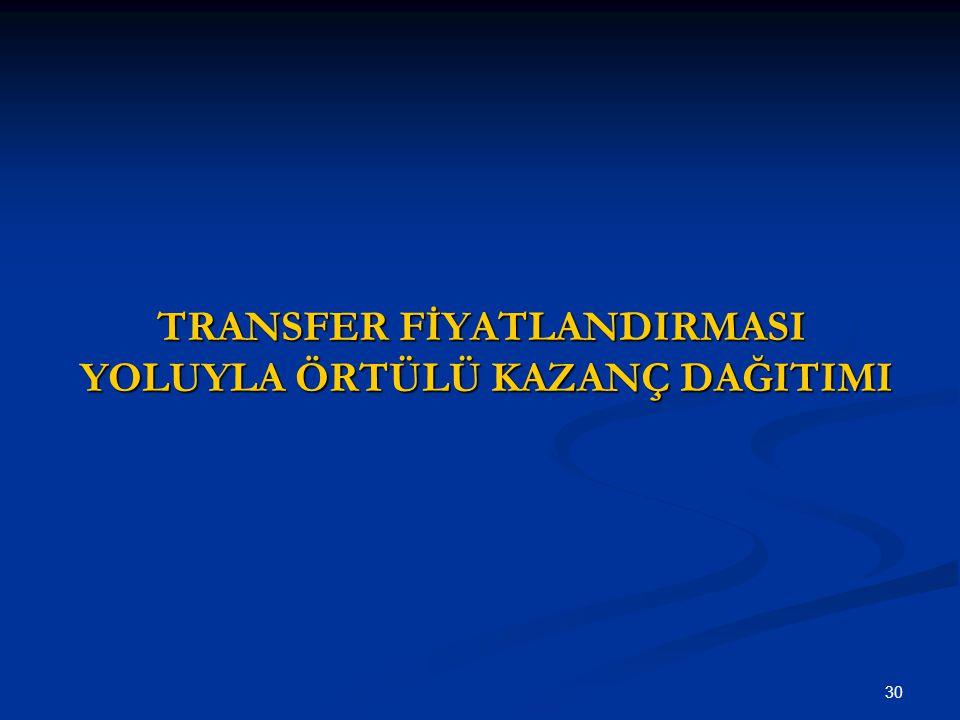 30 TRANSFER FİYATLANDIRMASI YOLUYLA ÖRTÜLÜ KAZANÇ DAĞITIMI