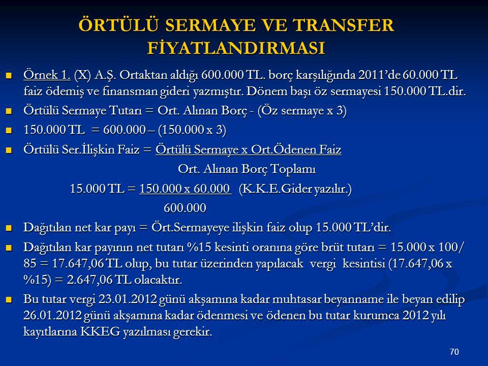 70 ÖRTÜLÜ SERMAYE VE TRANSFER FİYATLANDIRMASI Örnek 1. (X) A.Ş. Ortaktan aldığı 600.000 TL. borç karşılığında 2011'de 60.000 TL faiz ödemiş ve finansm