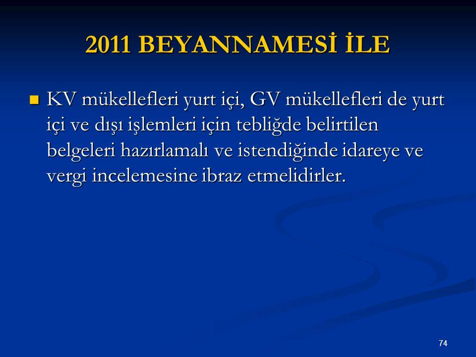 74 2011 BEYANNAMESİ İLE KV mükellefleri yurt içi, GV mükellefleri de yurt içi ve dışı işlemleri için tebliğde belirtilen belgeleri hazırlamalı ve iste