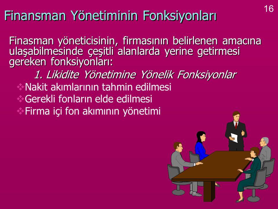 16 Finansman Yönetiminin Fonksiyonları Finasman yöneticisinin, firmasının belirlenen amacına ulaşabilmesinde çeşitli alanlarda yerine getirmesi gereken fonksiyonları: Finasman yöneticisinin, firmasının belirlenen amacına ulaşabilmesinde çeşitli alanlarda yerine getirmesi gereken fonksiyonları: 1.