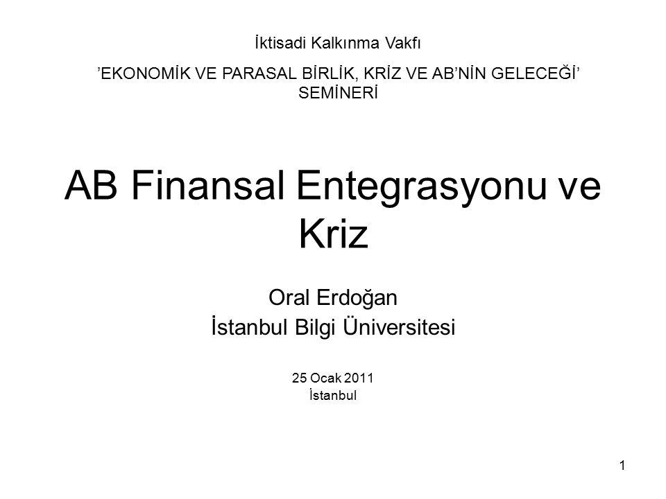 1 AB Finansal Entegrasyonu ve Kriz Oral Erdoğan İstanbul Bilgi Üniversitesi 25 Ocak 2011 İstanbul İktisadi Kalkınma Vakfı 'EKONOMİK VE PARASAL BİRLİK, KRİZ VE AB'NİN GELECEĞİ' SEMİNERİ