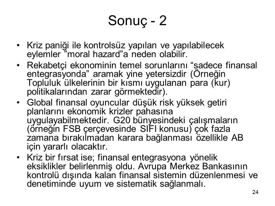 24 Sonuç - 2 Kriz paniği ile kontrolsüz yapılan ve yapılabilecek eylemler moral hazard a neden olabilir.