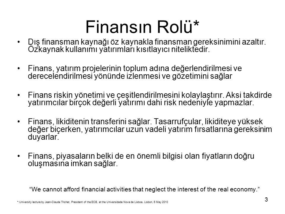 3 Finansın Rolü* Dış finansman kaynağı öz kaynakla finansman gereksinimini azaltır.