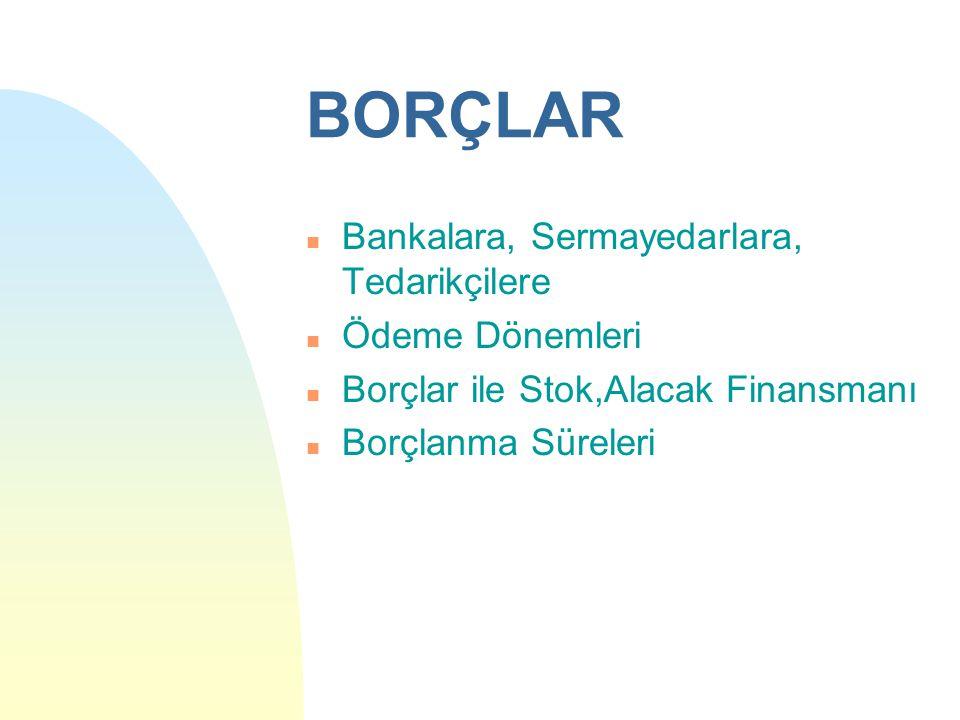 BORÇLAR n Bankalara, Sermayedarlara, Tedarikçilere n Ödeme Dönemleri n Borçlar ile Stok,Alacak Finansmanı n Borçlanma Süreleri