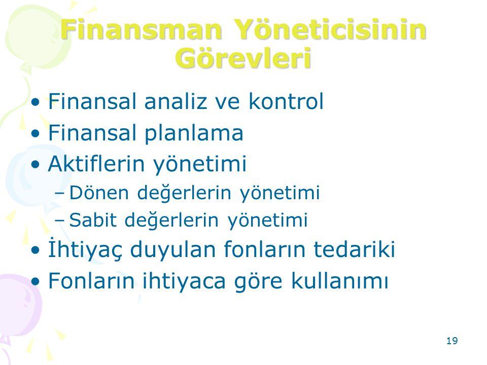 19 Finansman Yöneticisinin Görevleri Finansal analiz ve kontrol Finansal planlama Aktiflerin yönetimi –Dönen değerlerin yönetimi –Sabit değerlerin yön