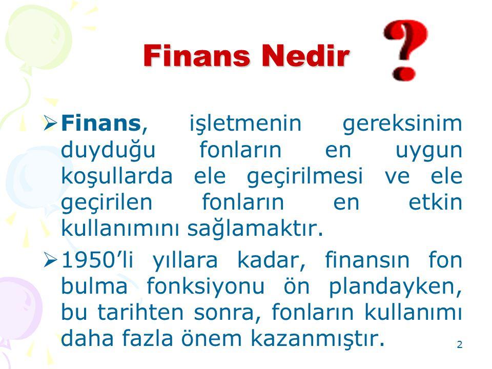 2 Finans Nedir  Finans, işletmenin gereksinim duyduğu fonların en uygun koşullarda ele geçirilmesi ve ele geçirilen fonların en etkin kullanımını sağ