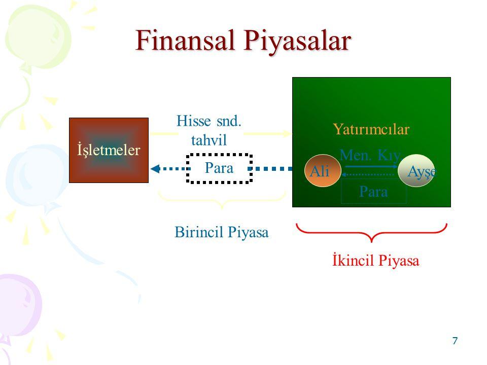8 Finans Yöneticisinin Amaç Fonksiyonu Max V = f (I, F, D) V = İşletmenin Değeri I = Yatırım Kararları (hangi varlıklara, ne kadar yatırım yapılacağı) F = Finansal Kararlar (yatırımların nasıl finanse edileceği) D = Firmanın Kar Dağıtımına İlişkin Kararlar