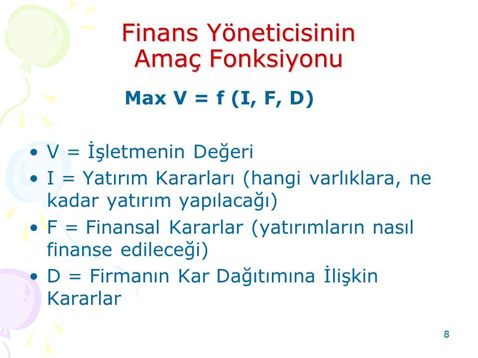 8 Finans Yöneticisinin Amaç Fonksiyonu Max V = f (I, F, D) V = İşletmenin Değeri I = Yatırım Kararları (hangi varlıklara, ne kadar yatırım yapılacağı)