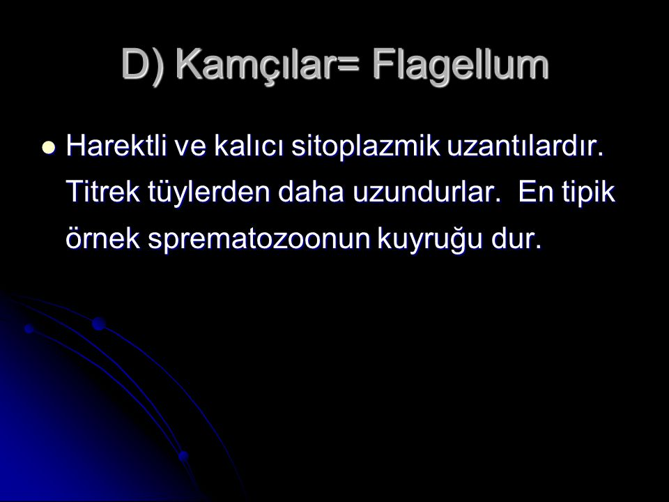 D) Kamçılar= Flagellum Harektli ve kalıcı sitoplazmik uzantılardır. Titrek tüylerden daha uzundurlar. En tipik örnek sprematozoonun kuyruğu dur. Harek