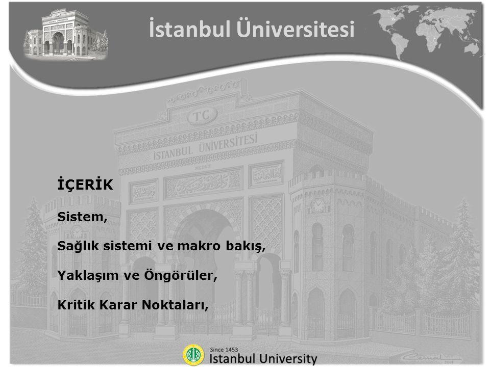 İÇERİK Sistem, Sağlık sistemi ve makro bakış, Yaklaşım ve Öngörüler, Kritik Karar Noktaları, İstanbul Üniversitesi