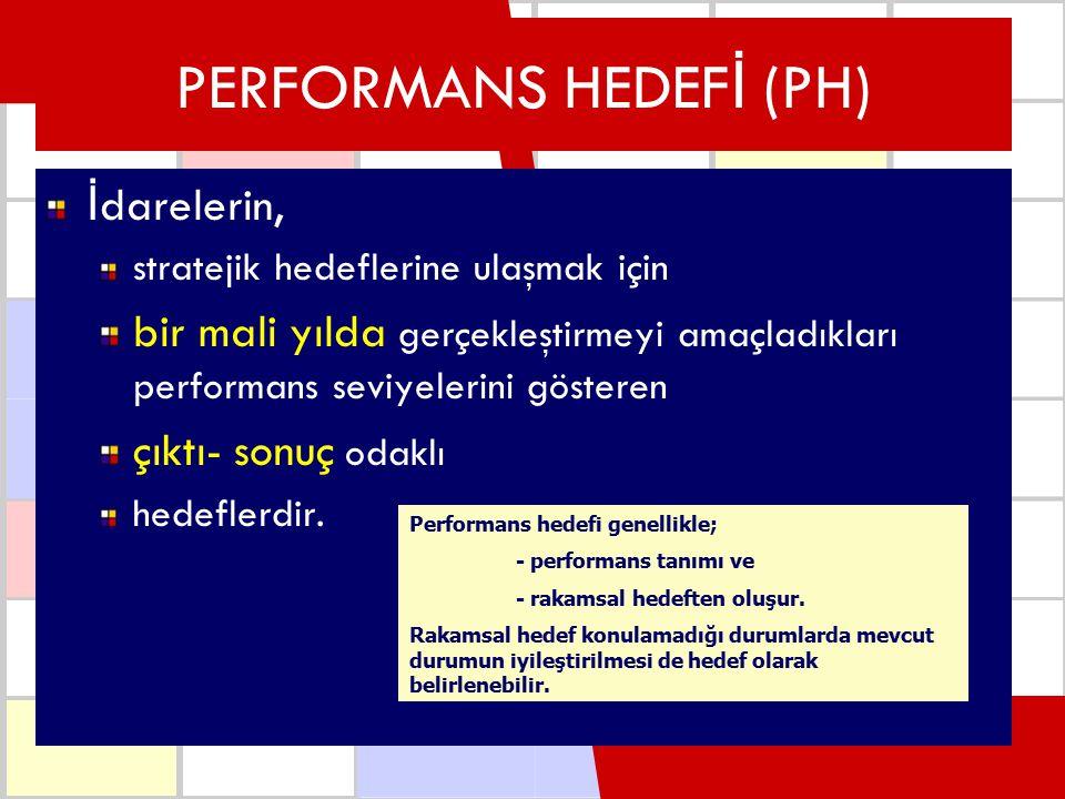 PERFORMANS HEDEF İ (PH) İ darelerin, stratejik hedeflerine ulaşmak için bir mali yılda gerçekleştirmeyi amaçladıkları performans seviyelerini gösteren