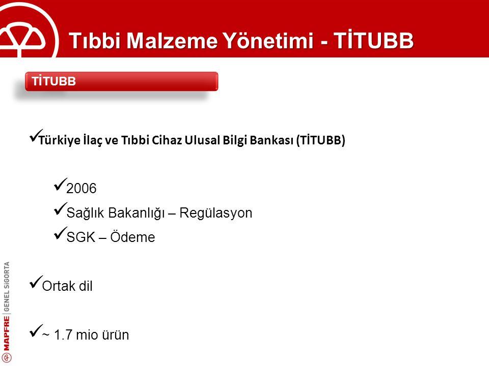Tıbbi Malzeme Yönetimi - TİTUBB Türkiye İlaç ve Tıbbi Cihaz Ulusal Bilgi Bankası (TİTUBB) 2006 Sağlık Bakanlığı – Regülasyon SGK – Ödeme Ortak dil ~ 1.7 mio ürün TİTUBB