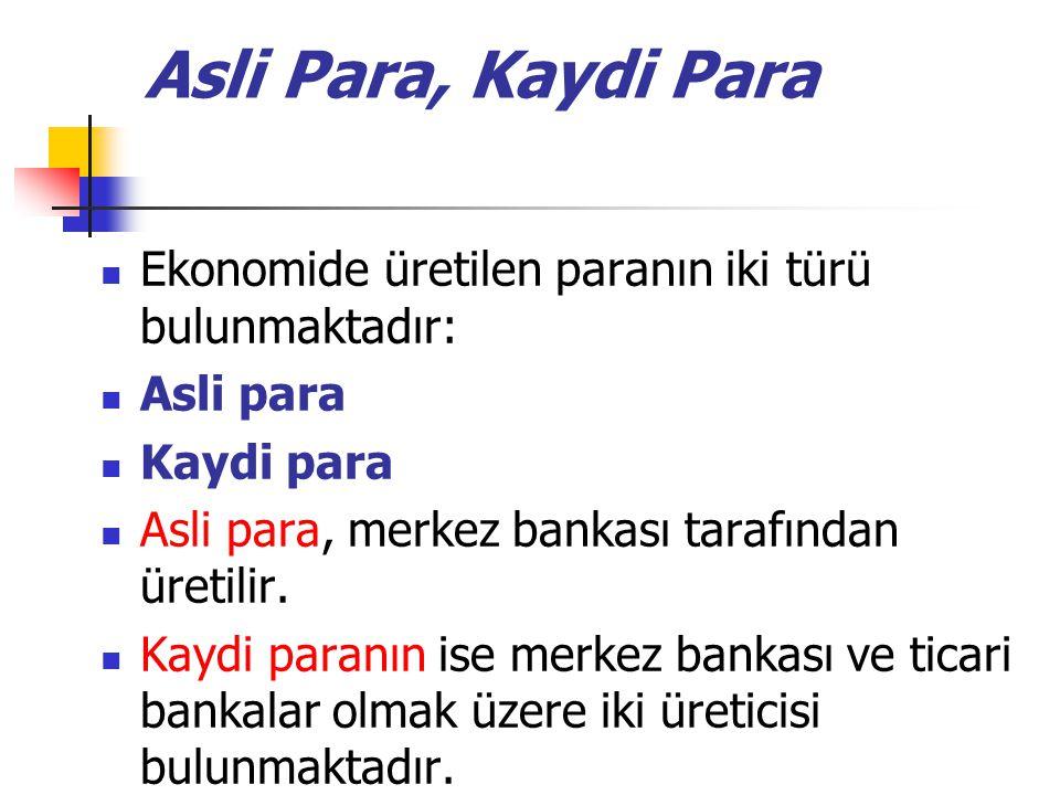 Asli Para, Kaydi Para Ekonomide üretilen paranın iki türü bulunmaktadır: Asli para Kaydi para Asli para, merkez bankası tarafından üretilir. Kaydi par