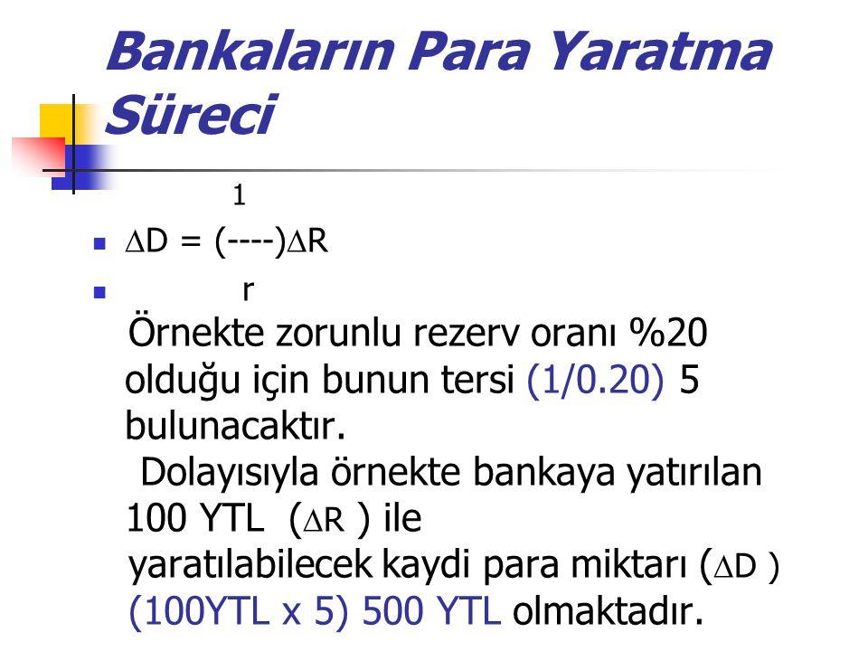 Bankaların Para Yaratma Süreci 1  D = (----)  R r Örnekte zorunlu rezerv oranı %20 olduğu için bunun tersi (1/0.20) 5 bulunacaktır. Dolayısıyla örne