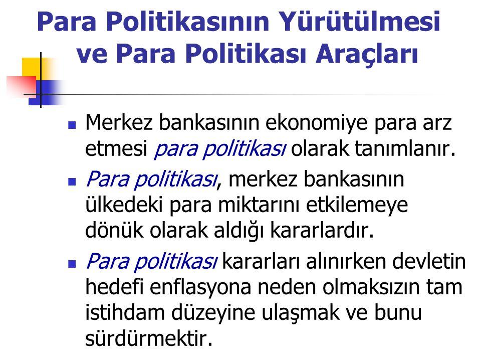 Para Politikasının Yürütülmesi ve Para Politikası Araçları Merkez bankasının ekonomiye para arz etmesi para politikası olarak tanımlanır. Para politik