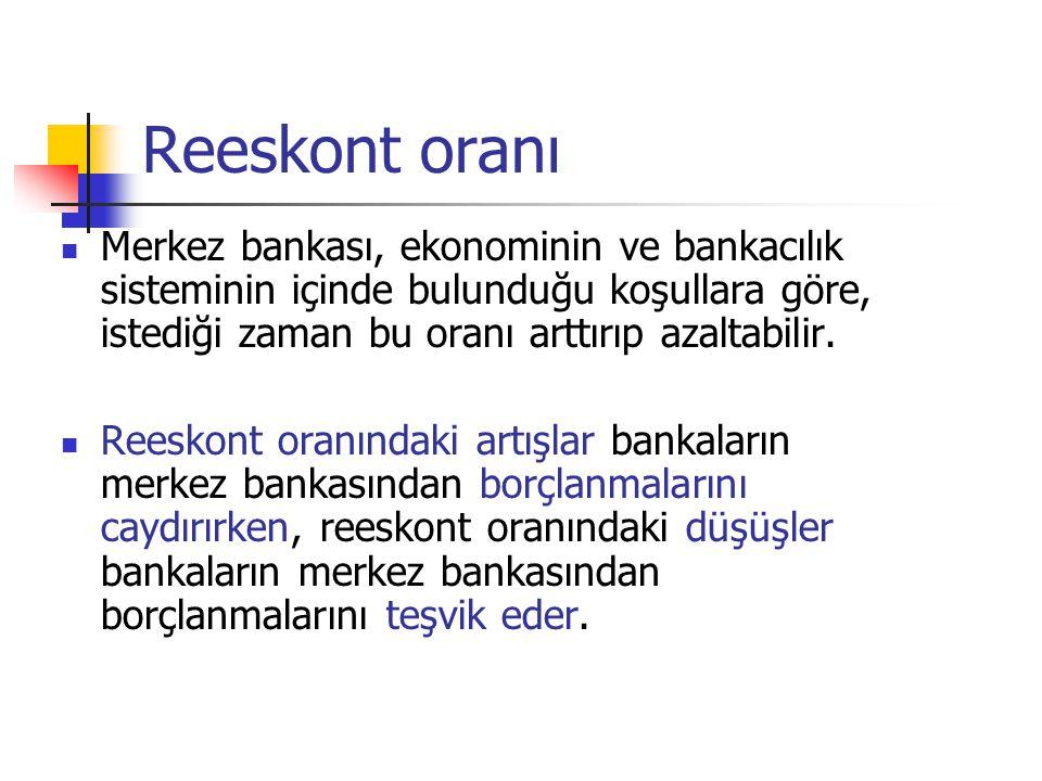 Reeskont oranı Merkez bankası, ekonominin ve bankacılık sisteminin içinde bulunduğu koşullara göre, istediği zaman bu oranı arttırıp azaltabilir. Rees