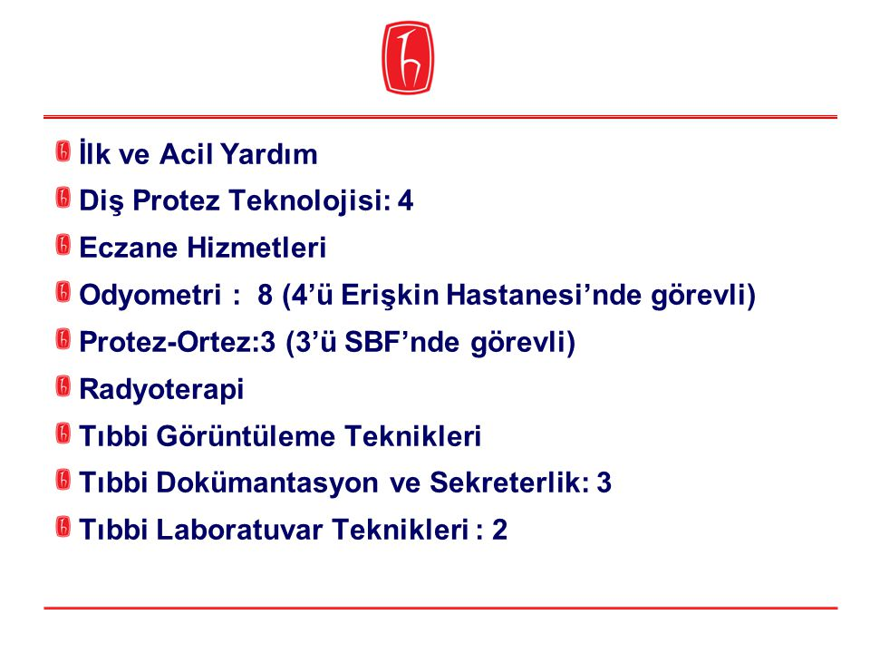 İlk ve Acil Yardım Diş Protez Teknolojisi: 4 Eczane Hizmetleri Odyometri : 8 (4'ü Erişkin Hastanesi'nde görevli) Protez-Ortez:3 (3'ü SBF'nde görevli)