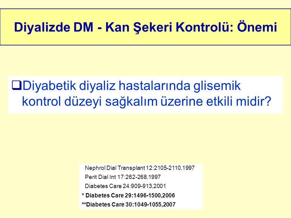 Diyalizde DM - Kan Şekeri Kontrolü: Önemi  Diyabetik diyaliz hastalarında glisemik kontrol düzeyi sağkalım üzerine etkili midir? Nephrol Dial Transpl